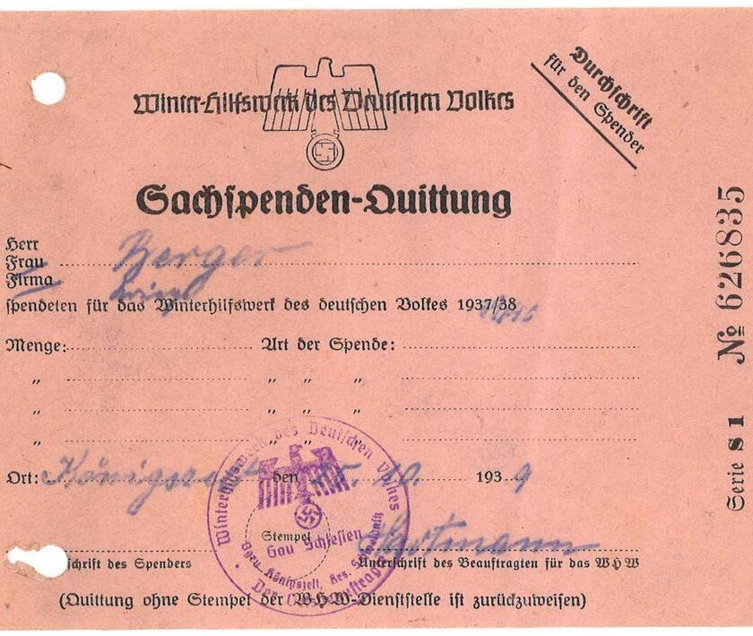 Pokwitowanie Winterhilfswerk des Deutschen Volkes Königszelt, 1939 r.