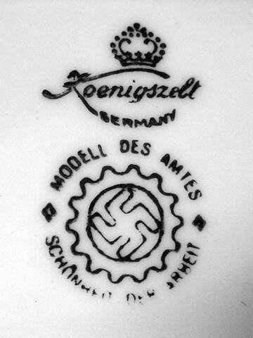 Sygnatura Porzellanfabrik Königszelt z symbolem DAF