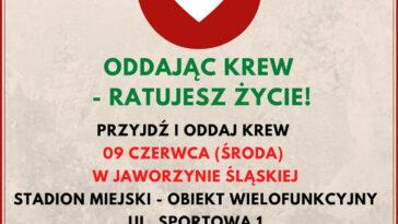 Zbiórka krwi w Jaworzynie Śląskiej plakat